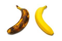 2 geïsoleerdew bananen Stock Afbeeldingen