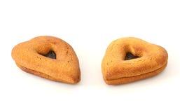 2 gingerbreads в форме сердца Стоковые Фото