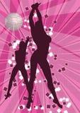 2 girls dancing. At disco stock illustration