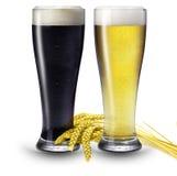 2 glaces de bière Photographie stock libre de droits