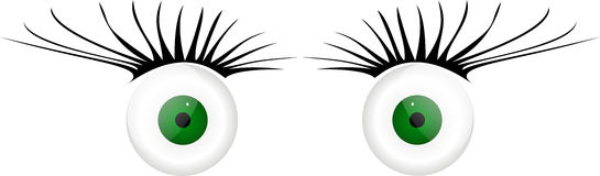 2 glass eyes with eyelashes. Into isolated on a white background vector illustration