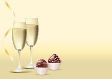 2 glasses of wine and sweets Royalty Free Stock Photos