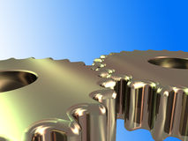 2 gold cogs w/ clipping path Royalty Free Stock Photos