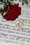 2 Gold Eternity Ring Near Red Rose on Musical Notes Stock Photos