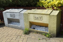 2 Grit Bins. Two grit bins containing grit Stock Photo