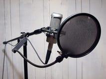 2 grunge话筒工作室声音墙壁 免版税库存图片