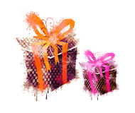 2 grungy gifts. Designed grunge & textured color gifts Royalty Free Stock Image