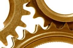 2 guld- kugghjul Royaltyfri Bild