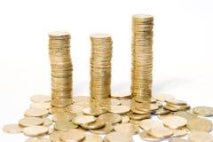 2 guld- mynt Arkivfoto