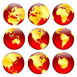 2 guld- sikter för jordklot Arkivbild