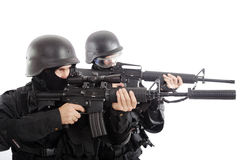 2 gun. Shot of a soldier holding gun Royalty Free Stock Photography