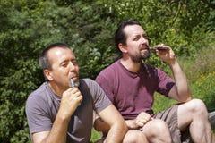 2 Guys Enjoy A E-cigarette Royalty Free Stock Photos