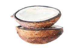 2 halfs кокоса при молоко изолированное на белизне Стоковая Фотография