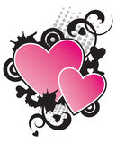2 Hearts. Decorative design element Stock Photography