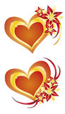 2 hearts and flowers. Vector hearts and flowers for your designs Stock Photo