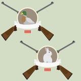 2 het embleem van de jacht met geweren Stock Afbeelding