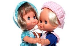2 het gelukkige poppen dansen Stock Foto