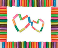 2 het Kleurrijke Frame van harten Stock Fotografie