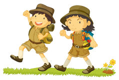 2 hikers. Illustration of 2 young kids hiking Royalty Free Stock Photo