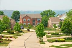 2 hogares suburbanos del ladrillo de la historia Foto de archivo