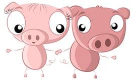 2 holdinghands dos porcos Imagens de Stock