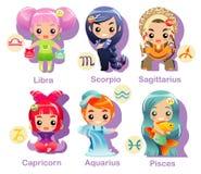 2 horoskopu ikony część ustalonych znaka Obrazy Royalty Free