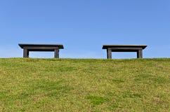 2 houten Bank op Groen Stock Fotografie