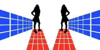 2 illustrerad kvinna vektor illustrationer