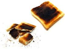 2 imágenes de la tostada quemada Fotos de archivo