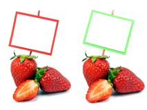 2 imagens de morangos frescas com espaço da cópia Imagem de Stock