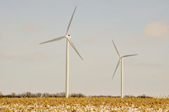 2 Indiana Wind Turbines. Whoosh in the wind Stock Images