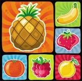 2 inställda färgrika frukt- symboler Arkivbild