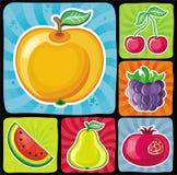 2 inställda färgrika frukt- symboler vektor illustrationer