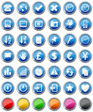 2 inställda glansiga symboler för knappar