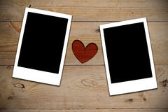 2 Instant photos with red heart Royalty Free Stock Photos