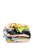 2 isolerad medelstapel för underlag kläder Arkivfoto