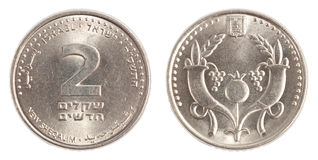 2 Israeli New Sheqel coin Royalty Free Stock Photos