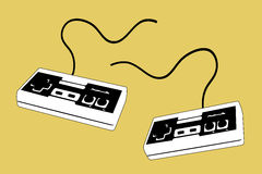 2 joypad for 2 players. Illustration of 2 joysticks / joypads with yellow background. Brand removed Stock Image
