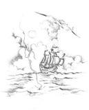 2 jpg rysunkowy statek Obrazy Royalty Free