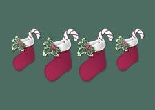 2 julstrumpor stock illustrationer