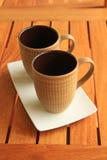 2 kaffekoppar Arkivfoto
