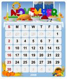 2 kalender månatliga november vektor illustrationer