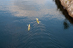 2 kayaks - взгляд от выше Стоковое фото RF