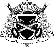 2 keys on heraldic crowned shield. Two keys on heraldic crowned shield stock illustration