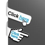 2 klikają tutaj lewa strona znaki Obrazy Royalty Free