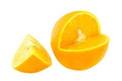 2 klippta apelsiner Royaltyfria Bilder