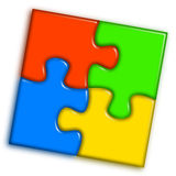 2 koloru łącząca wielo- łamigłówka Fotografia Stock