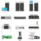 2 komputerów ikony networking część setu wektoru biel Obrazy Stock