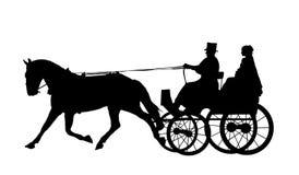 2 konia powóz ślub Zdjęcia Royalty Free
