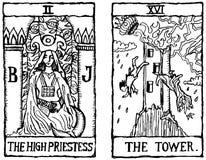 2 kort skisserar tarot två v Arkivbilder